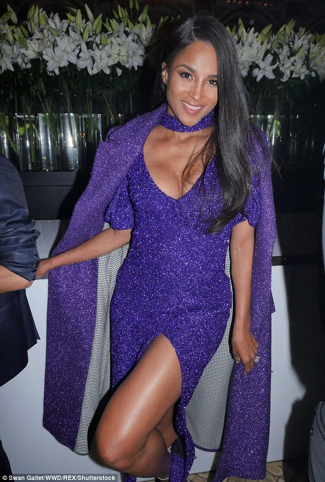 Work it:With its low cut neckline, the gown gave prominence to Ciara's ample cleavage, and she ensured that she worked every angle of her sensational physique as she attended the star-studded party