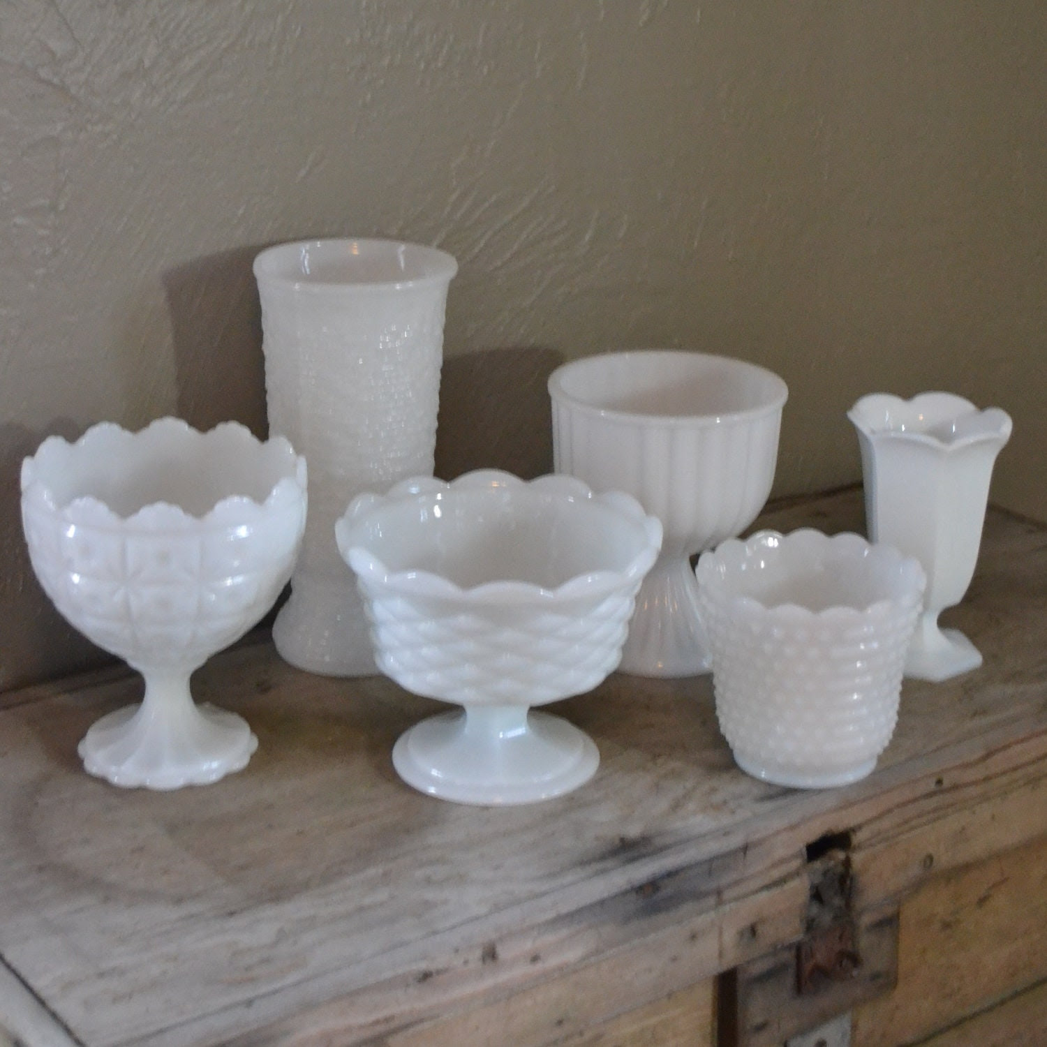 Set of 6 Vintage Milk Glass Compotes and Vases White Wedding