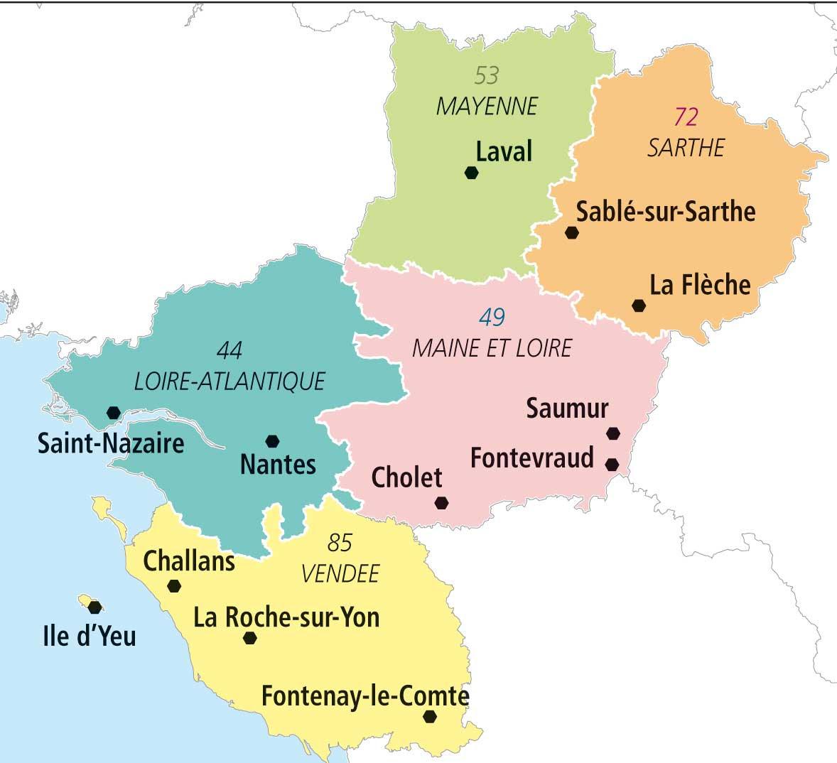 Cartograf.fr : Les régions de la France : Les Pays de la Loire