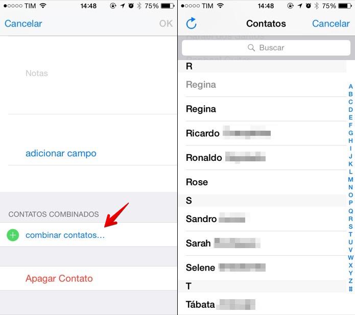 Combinando contatos duplicados na agenda do iOS (Foto: Reprodução/Marvin Costa)