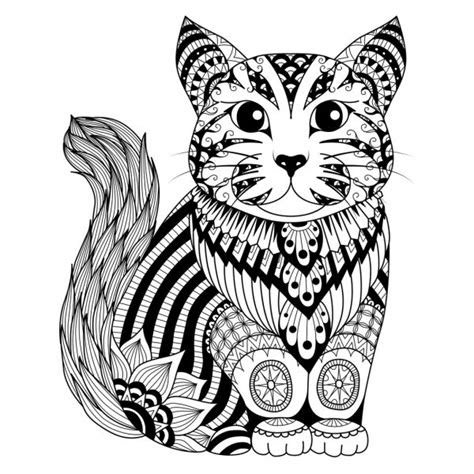 drawing zentangle cat  coloring page shirt design