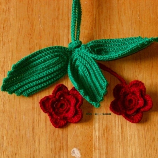 Roses and Leaves Key Chain  Handmade Irish by RSSDesignsInFiber