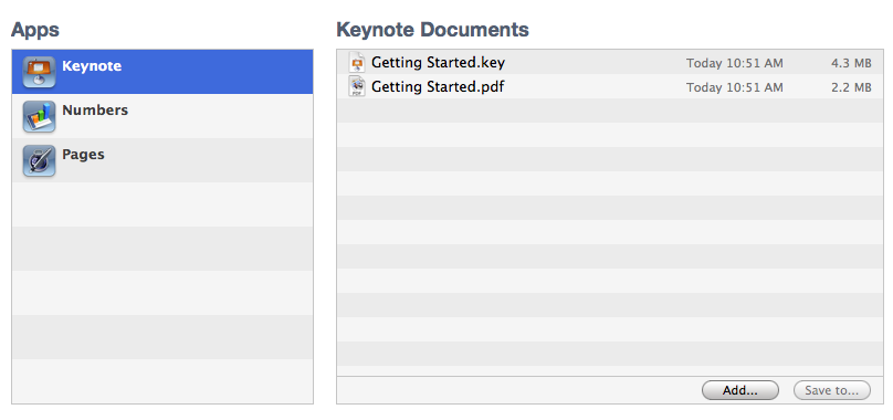 iTunes apps and documents list