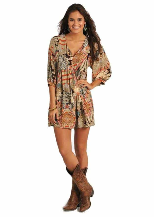 cute dresses to wear with cowboy boots – think pink