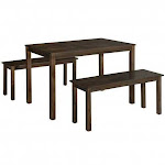 3PCS Modern Studio Collection Table Dining Set -Coffee - Color: Coffee