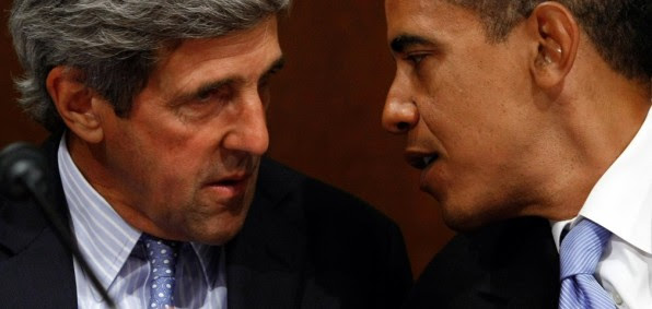 Secretary of State John Kerry talks with President Barack Obama. The two have led the way in getting Iran to sign a treaty on nuclear weapons in return for elimination of sactions.