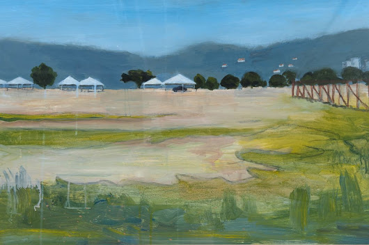 Savannah with Tents (2010) Acrylic painting by Mary Adam