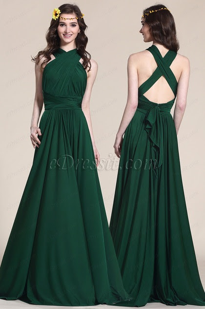 Sleeveless Convertible Dark Green Bridesmaid Dress