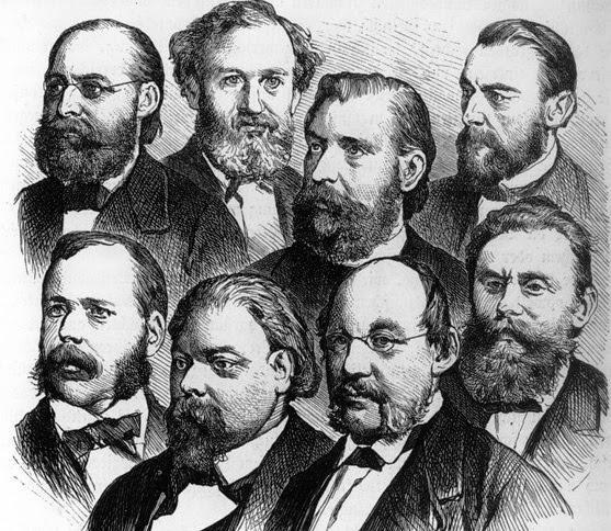 Führende Politiker der nationalliberalen Partei. (Holzschnitt um 1878)