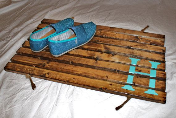 DIY Stained Wood Doormat with Initial
