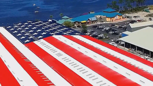 #11onthegulf: The world's largest painted American flag?