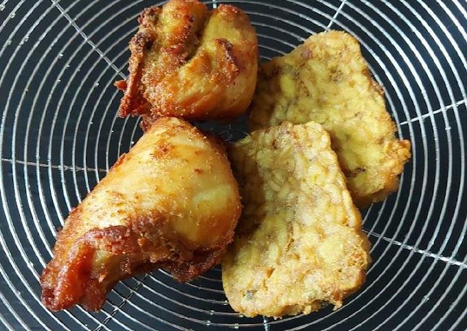 Resep Tempe & ayam goreng ungkep bumbu kuning🍗, Enak Banget