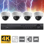 Complete 4 Channel 4K Ultra HD (8MP) Dome IP Surveillance System