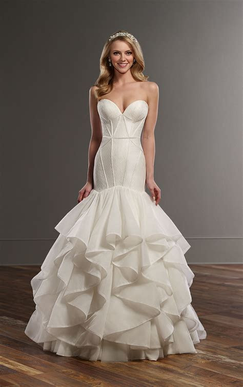 Lace and Silk Fit and Flare Wedding Dress with Corset Bodice