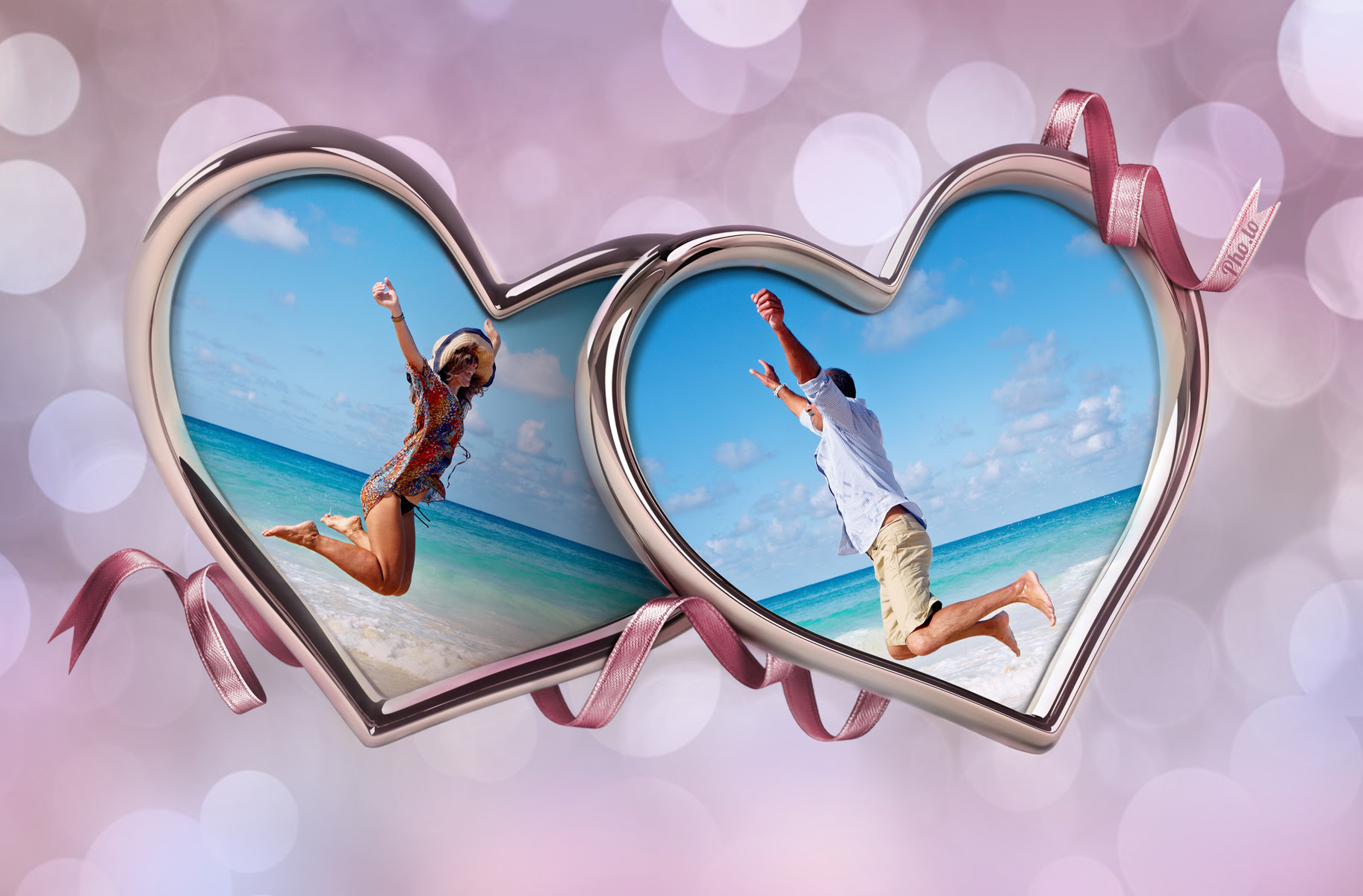 Double Heart Frame Combine Two Photos In One Heart Collage