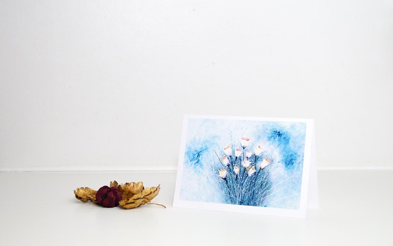 Birthday card Blue greeting card with flowers - Floral light blue painting - White Flowers Fine Art A6 - Mothers day - AstaArtwork