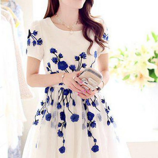 Elegant Jewel Neck Short Sleeve Embroidered Organza Dress For Women