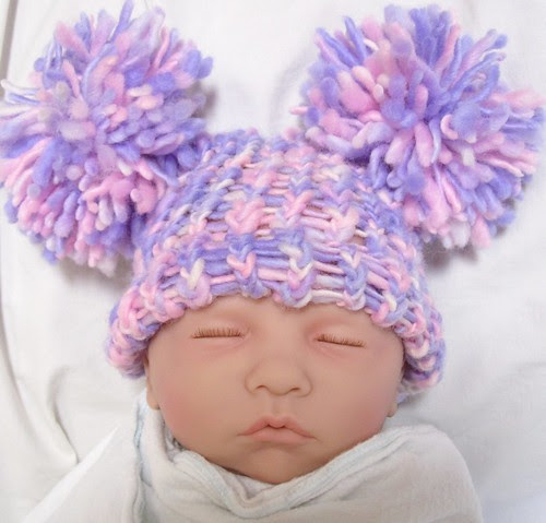 Pink & Purple Double Pom-Pom Baby Hat