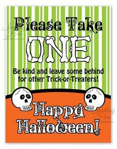 printable trick  treat sign misc halloween candy
