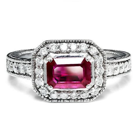 Sideways Set Ruby & Diamond Halo Style Engagement Ring 14K