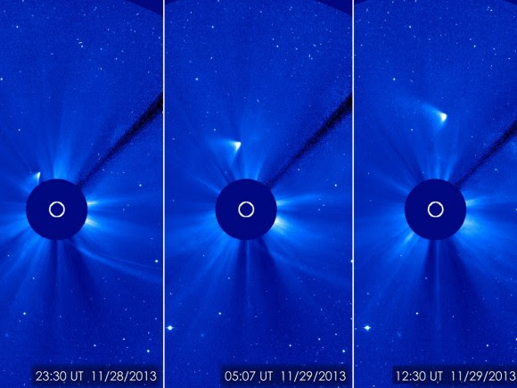 Bright, brighter, brightest: these views of Comet ISON after its closest approach to the sun Nov. 28 show that a small part of the nucleus may have survived the comet's close encounter with the sun. Images from the Solar and Heliospheric Observatory. Credit: ESA/NASA/SOHO/GSFC