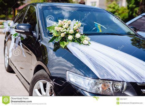 Wedding Car Decor Flowers Bouquet. Car Decoration Stock