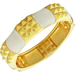 Fashion Alloy Yellow Gold-Tone White Enamel Spikes Bangle Bracelet