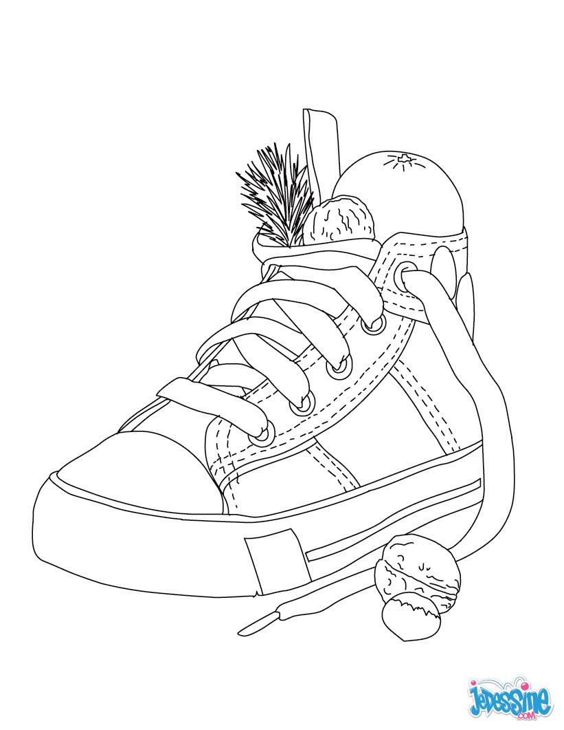 Coloriage d une chaussure remplie de cadeaux de No l