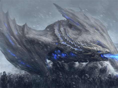 white walkers dragon game  thrones full hd  wallpaper