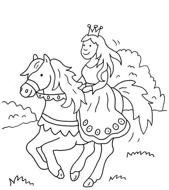 ausmalbild prinzessin pferd  malvorlagen