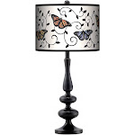 Marla Butterfly Scroll Giclee Paley Black Table Lamp - Style # 27X77