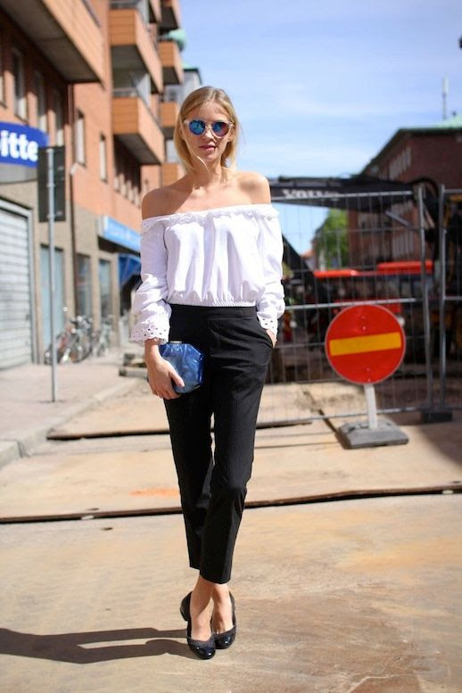 20 Le Fashion 31 Stylish Ways To Wear An Off The Shoulder Look White Top Jeans Via The Fashion Eaters