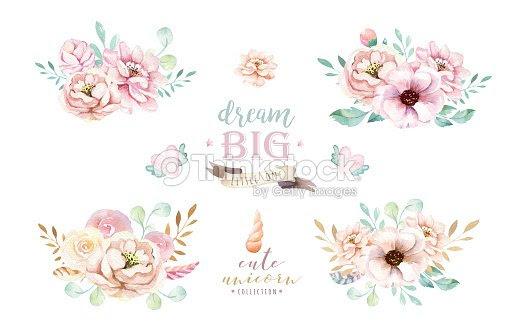 Gráfico Aislado Ramos Acuarela Lindo Con Flores Dibujo De Unicornios