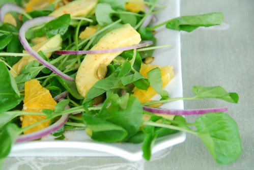 watercress avocado salad half