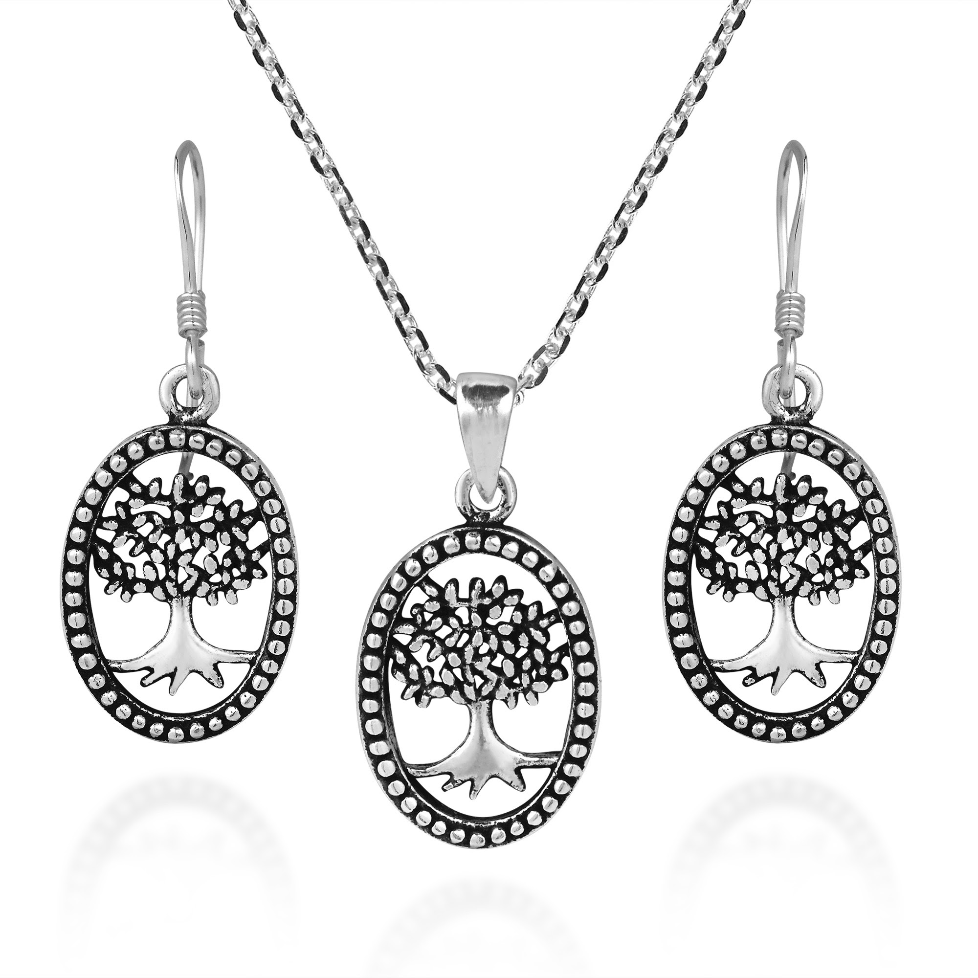 Thriving Tree Of Life Oval Frame 925 Silver Necklace Earrings Set