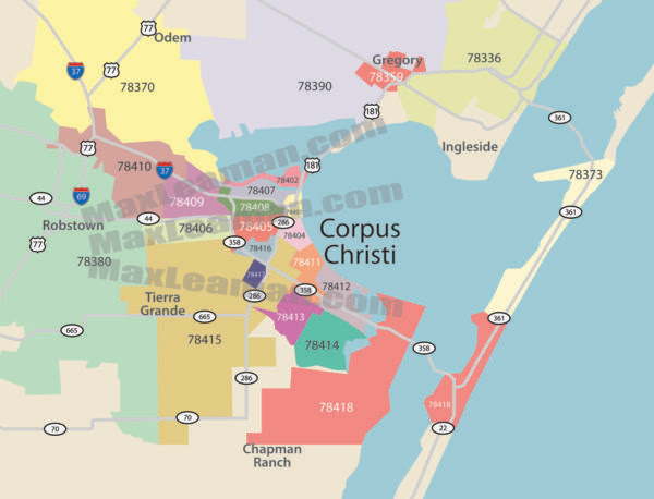 Corpus Christi Zip Code Map Corpus Christi Zip Code Map | Color 2018