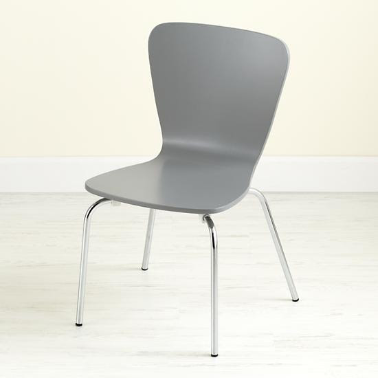 Kids' Desk Chairs: Kids Painted Grey Chair with Metal Legs   The