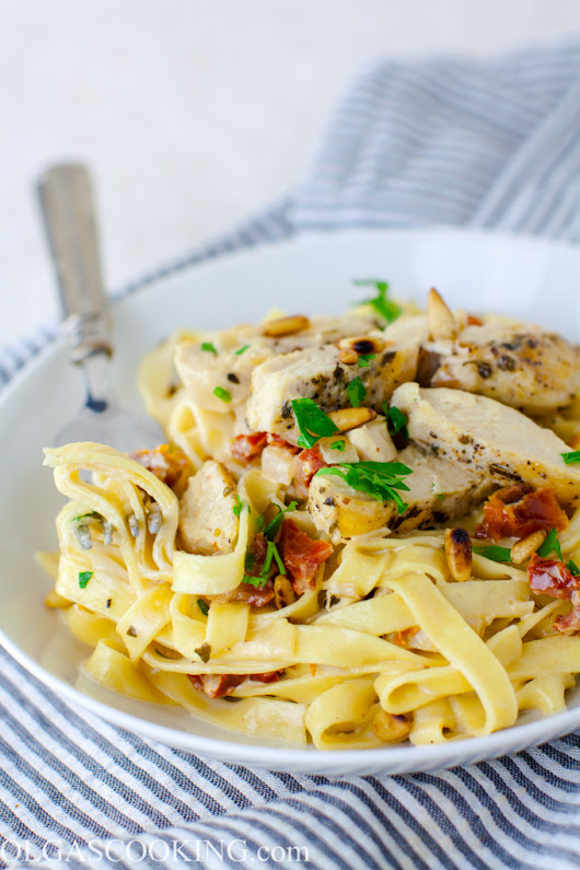 Chicken and Sun Dried Tomato Fettuccine - Olgas Cooking