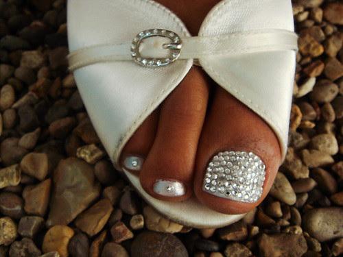 Elegant Toe Nail Art for Bridal and wedding
