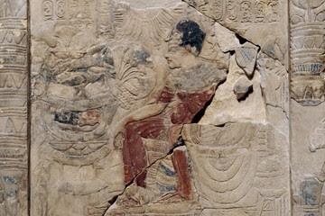 Shrine-stela of Amenhotep III and queen Tiye (detail), Amarna c.1340 BC. (British Museum EA 57399)
