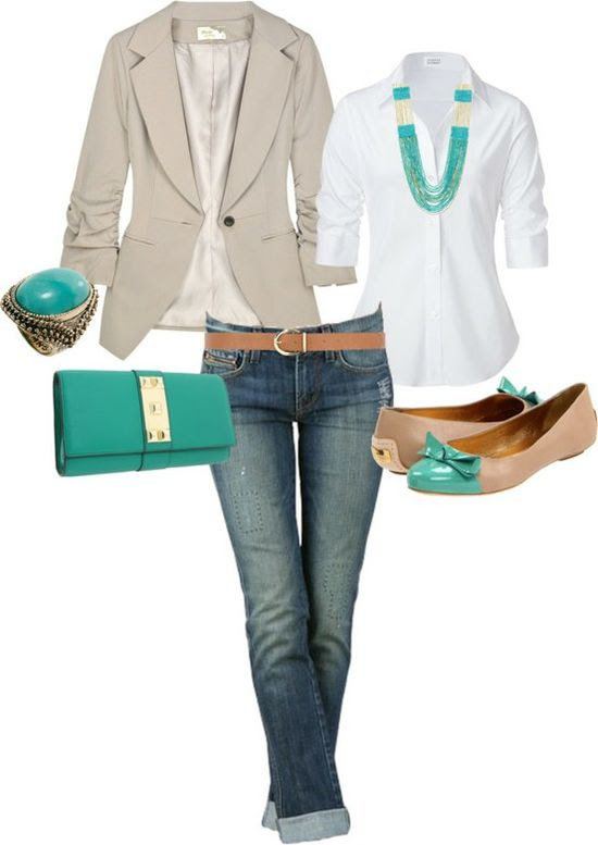 Cute casual....pops of teal