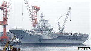 China's aircraft carrier is seen under construction in Dalian, Liaoning province (April 2011)