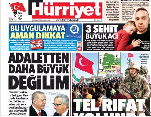 Το πρωτοσέλιδο της σημερινής Hurriyet