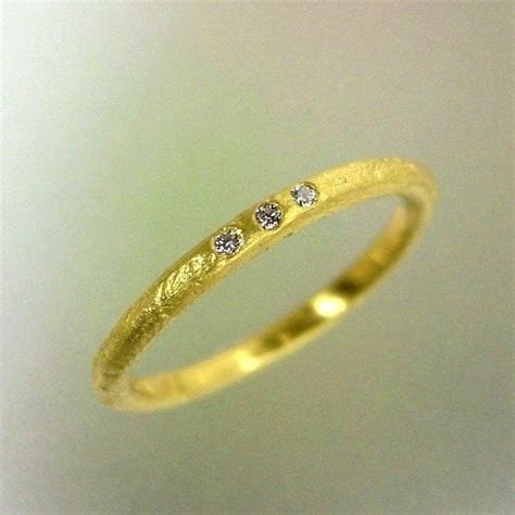 Rustic Wedding Ring, Gold Diamond Band, Womens Delicate