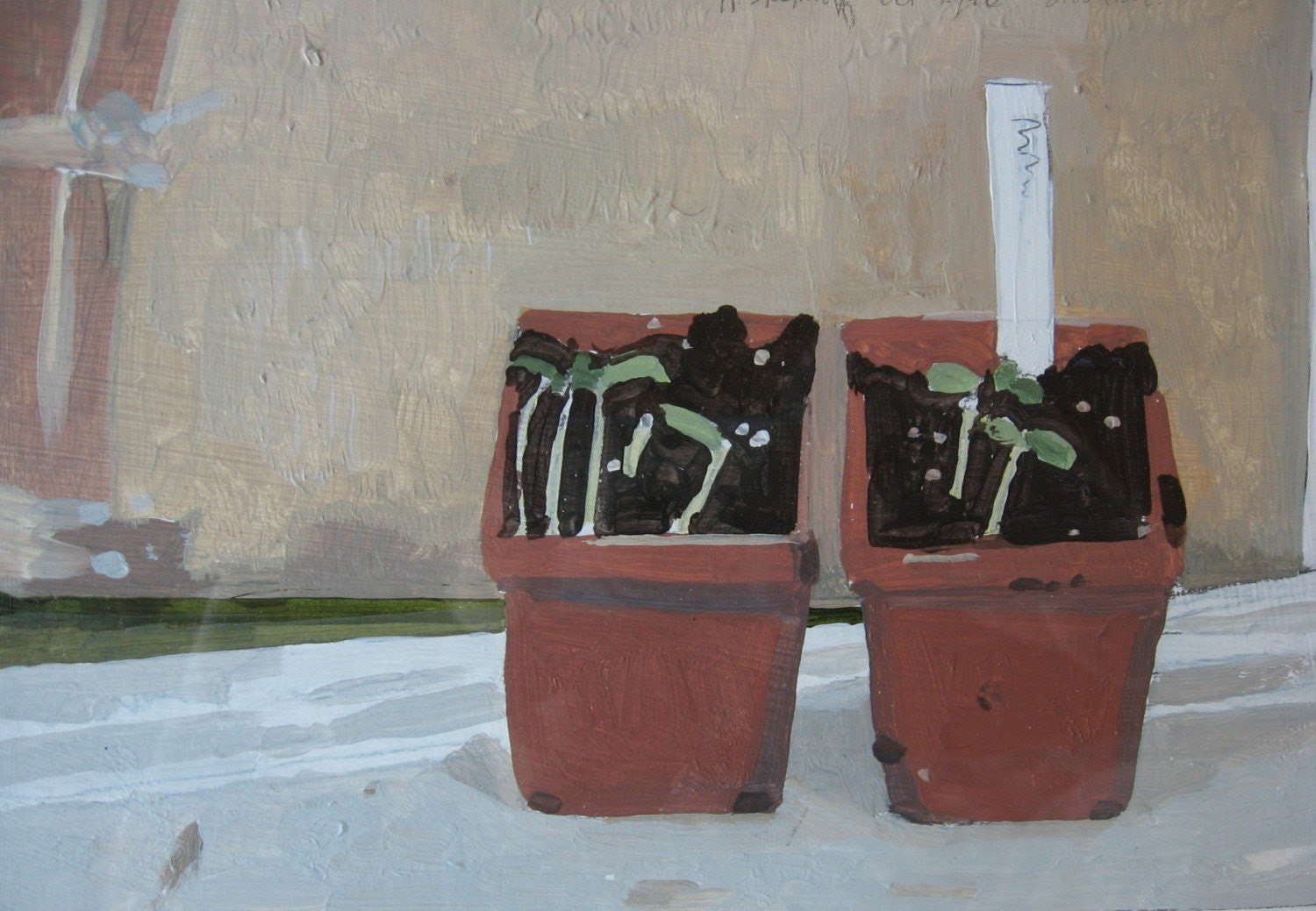 Spring Seedlings, Small Still Life Painting, You can buy it framed or unframed
