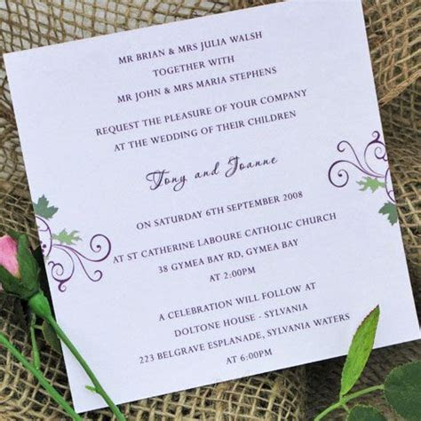 wedding invitations wording ceremony and reception at same