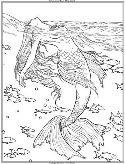 mermaid fantasy ausmalbilder fur erwachsene