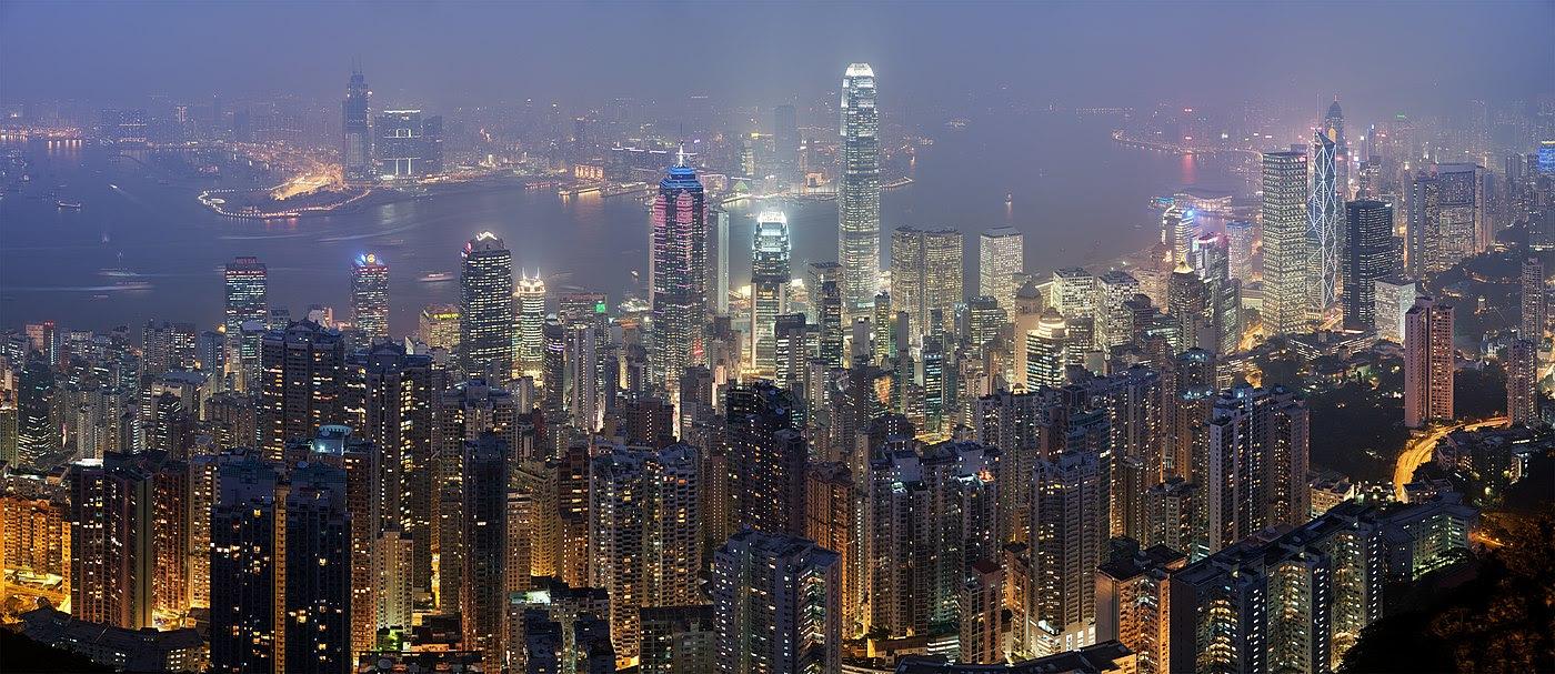 Vista del distrito financiero de Hong Kong, desde la Cumbre Victoria