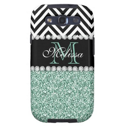 MINT GREEN GLITTER BLACK CHEVRON MONOGRAMMED SAMSUNG GALAXY S3 CASE