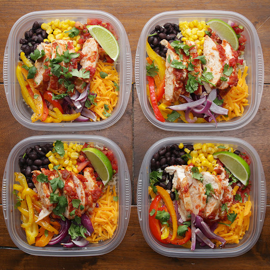 Weekday Meal-Prep Chicken Burrito Bowls Recipe by Tasty